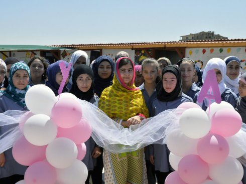 Malala Yousafzai celebrated her birthday and the opening of a new school with with Syrian refugees in Beqa, Lebanon