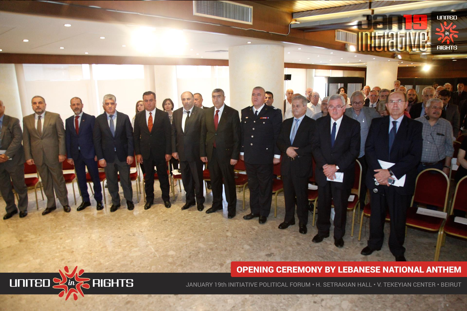 January 19th Initiative Political Forum's opening ceremony by the Lebanese National Anthem